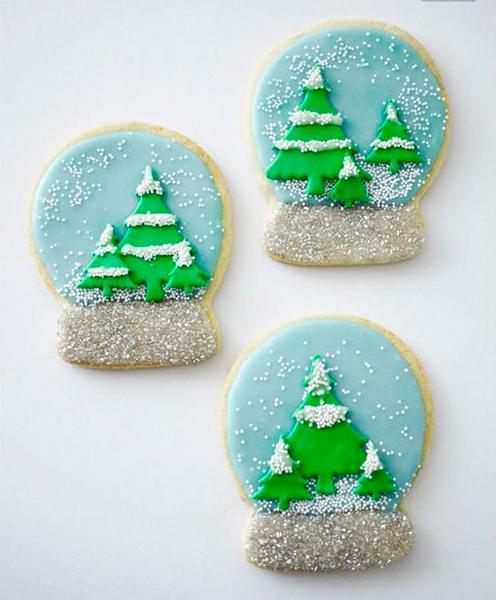 новогоднее печенье с елочками