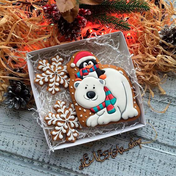 фото новогоднего печенья с медведем
