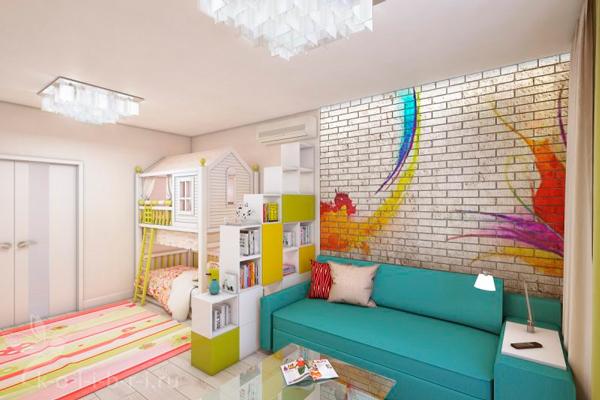 детская и гостинная в одной комнате 8