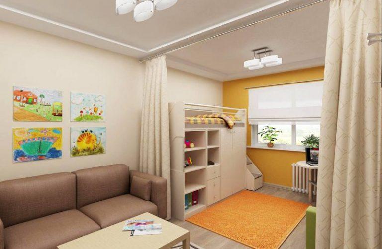 фото гостинной и детской в одной комнате 2