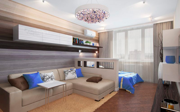 детская и гостинная в одной комнате 11