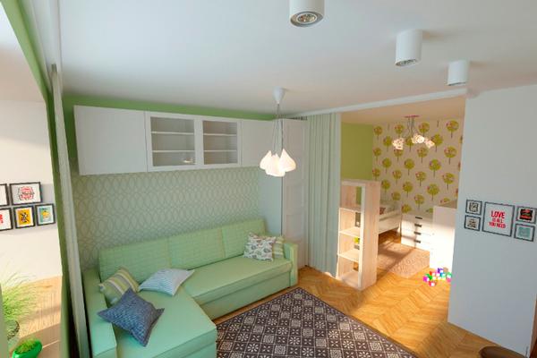 детская и гостинная в одной комнате в зеленых тонах