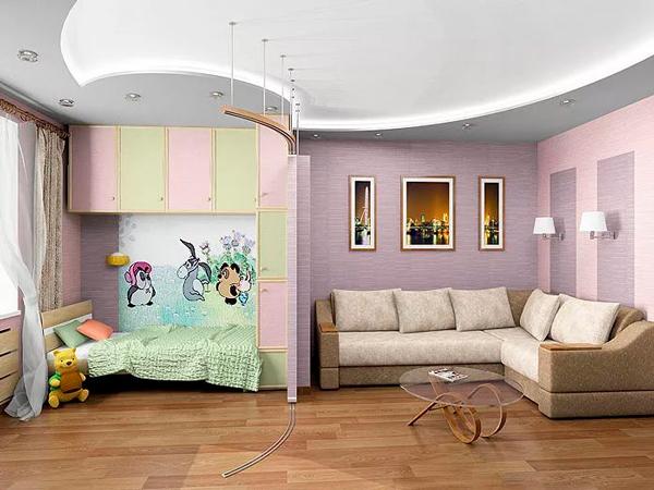 уютная детская и гостинная в одной комнате