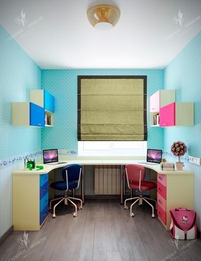 рабочие место в комнате мальчика и девочки