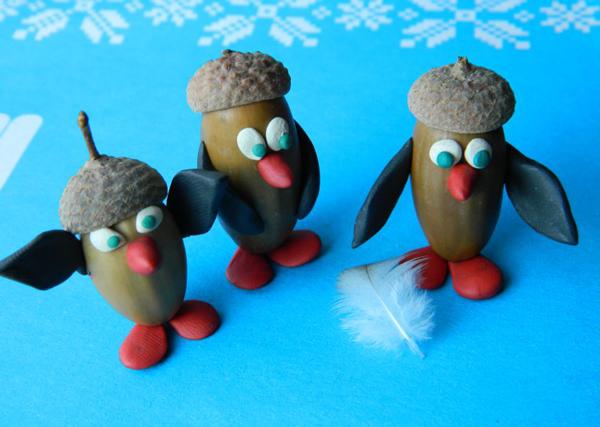 поделка: пингвины из желудей