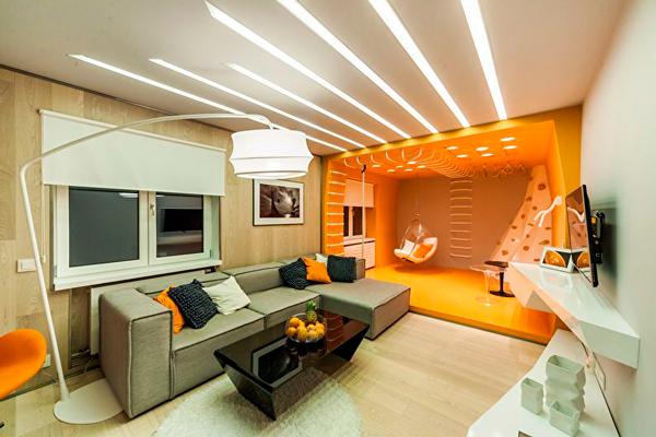 использование различных цветов при зонированнии комнаты