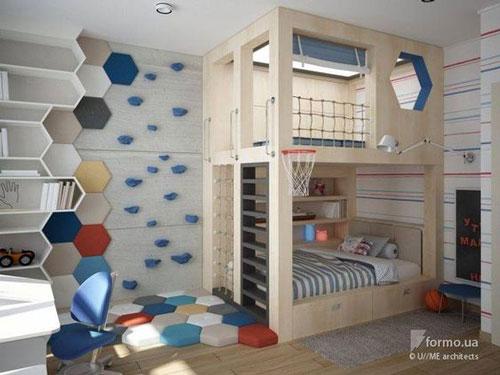 красивый интерьер детской комнаты в бежевом цвете 4