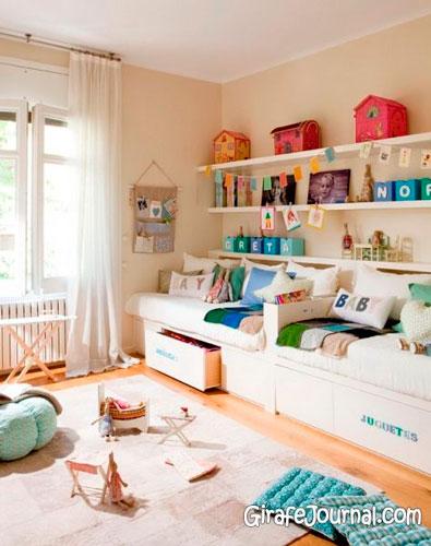 природные материалы в интерьере детской комнаты в бежевом цвете 2