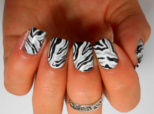 полосатый дизайн ногтей