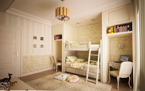 Бежевые комнаты для двух детей 9