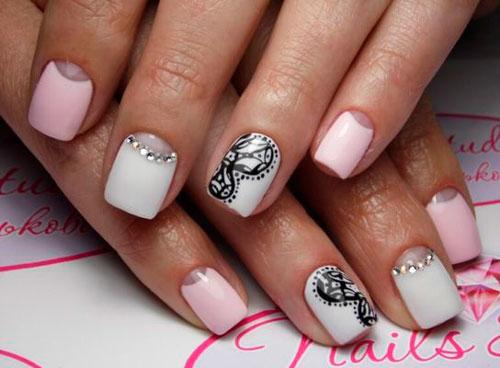 дизайн ногтей в белом цвете с рисунком 6