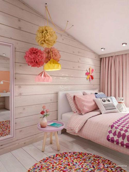 красивый интерьер детской комнаты в бежевом цвете