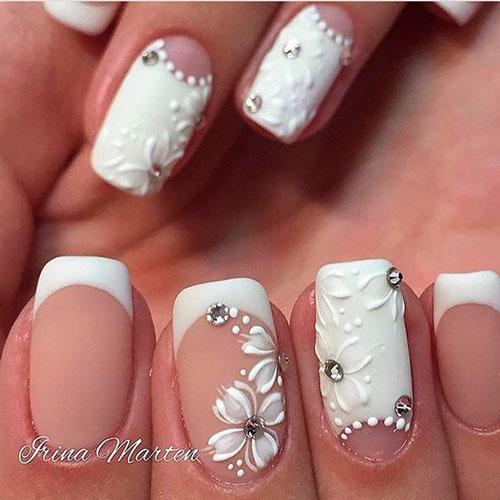 белый свадебный маникюр