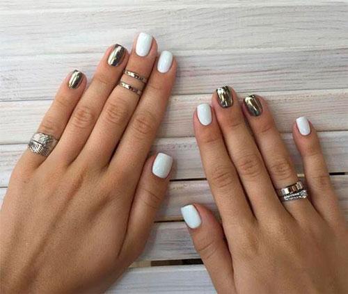 дизайн ногтей в белом цвете с розовым рисунком 3