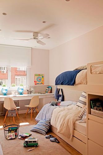 Бежевые комнаты для двух детей 7