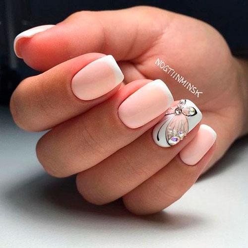матовый дизан ногтей в белом цвете