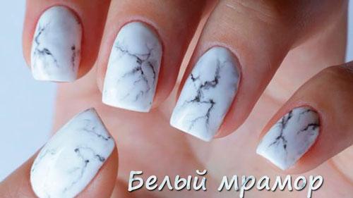 белый мрамор дизайн ногтей