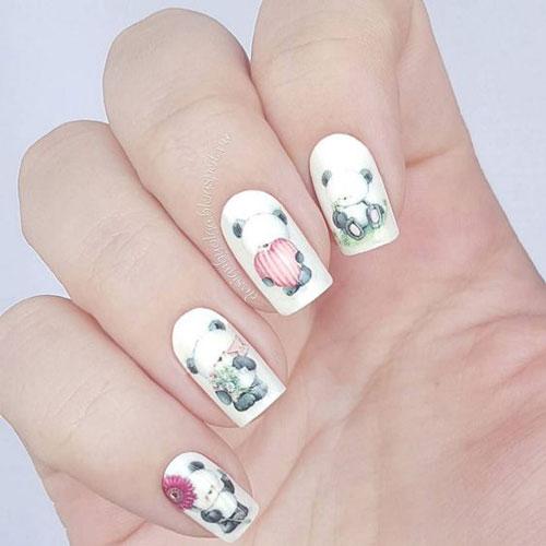 фото дизайна ногтей в белом цвете с рисунками