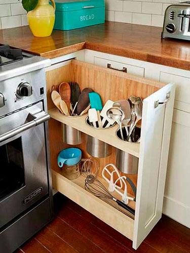идея как навести порядок на маленькой кухне: бутылки 2