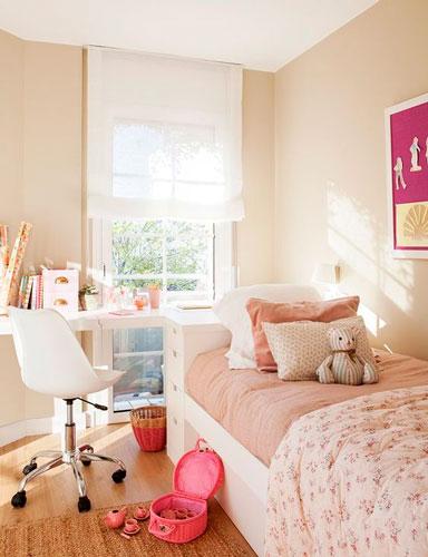 красивый интерьер детской комнаты в бежевом цвете 7