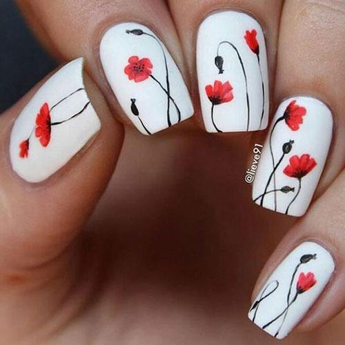 фото дизайна ногтей в белом цвете с цветами