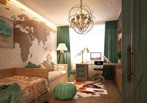 детская бежевая комната в стиле путишественник