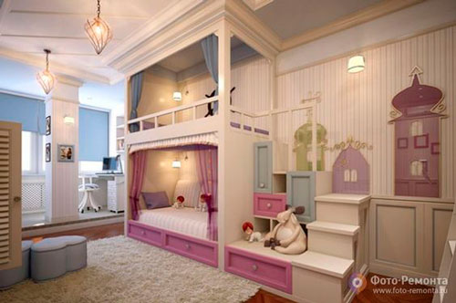 Бежевые комнаты для двух детей 4