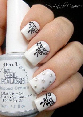 дизайн ногтей в белом цвете для девочки