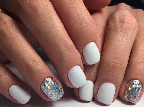 дизайн ногтей в белом цвете для вечеринки
