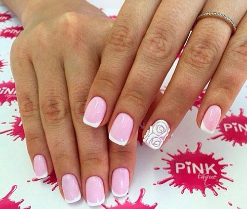 розовый с белым френч маникюр