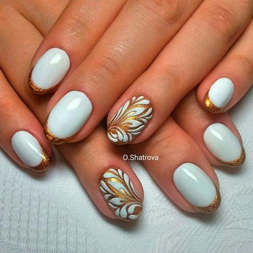 дизайн ногтей белый с золотом