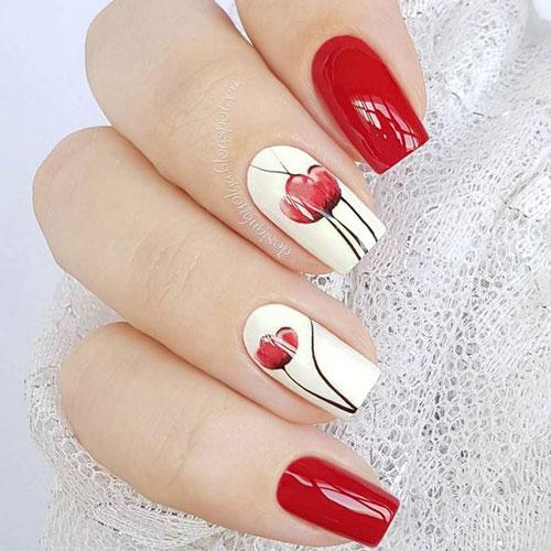 дизан ногтей в белом цвете с красными цветами