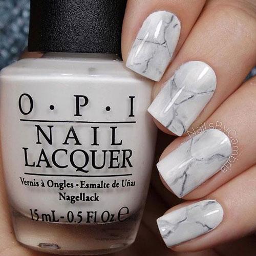дизайн ногтей белый мрамор