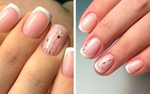 романтичный дизайн ногтей при френч маникюре