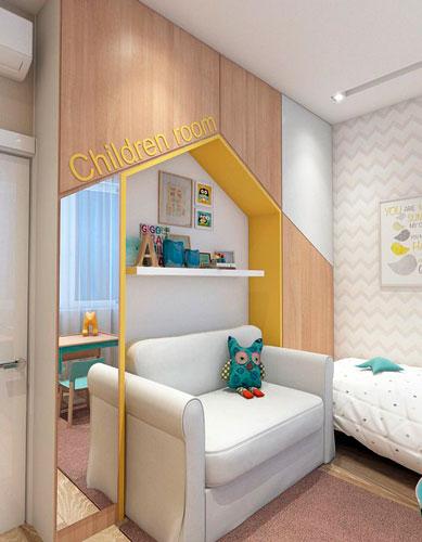 интерьер детской комнаты в бежевом цвете 6