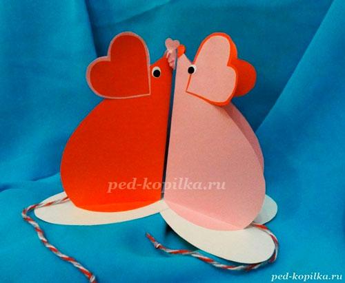 поделка мышка из бумаги ко дню святого Валентина 2