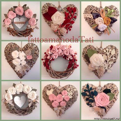 Идеи поделок венков на день святого Валентина