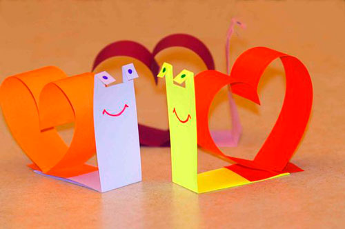 поделка улитка из бумаги ко дню святого валентина
