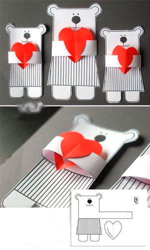 поделка мышка из бумаги ко дню святого Валентина 3
