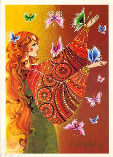 Советские открытки с 8 марта: русские мотивы 13