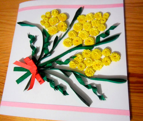 открытка с мимозами на 8 марта 2