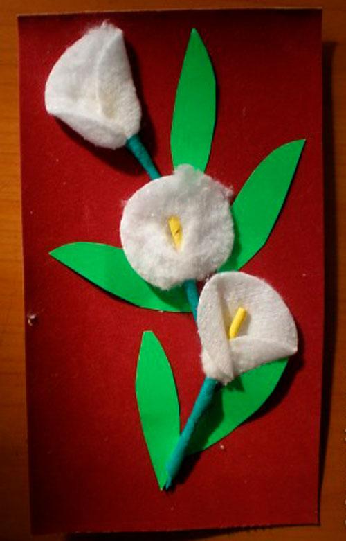 цветы из ватных дисков на открытке