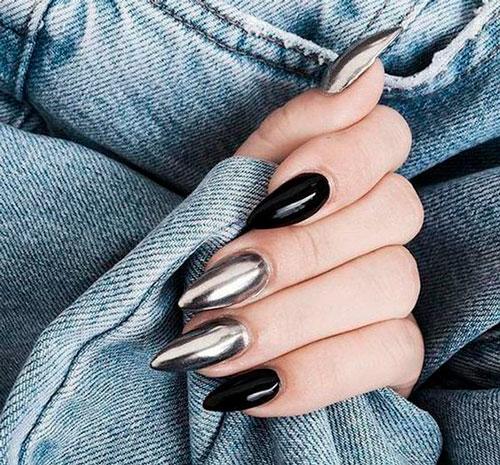 новый дизайн 2018: острые ногти металлик