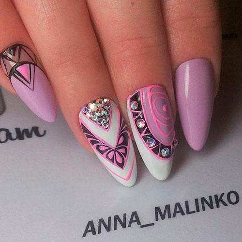 розовые острые ногти