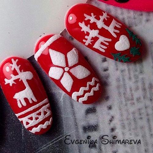 """узор """"свитер"""" на красных ногтях"""