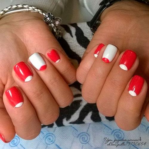 красно-белый й маникюр
