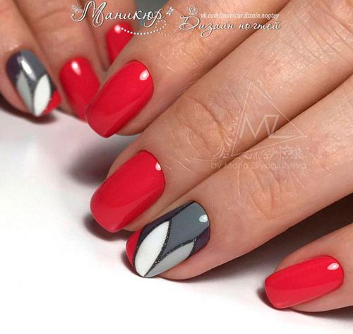 красивый дизайн ногтей в красном цвете 3