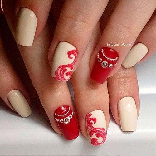дизайн ногтей с рисунком в красно-белых цветах