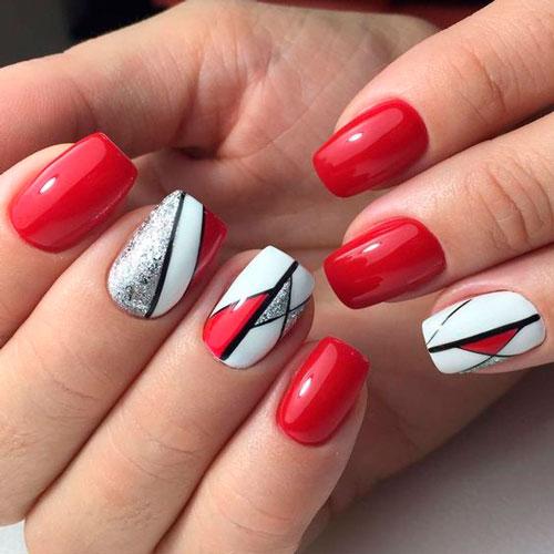 дизайн ногтей с красным лаком