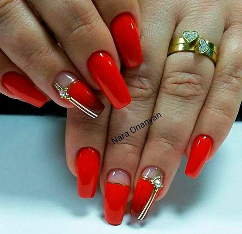 красный дизайн ногтей 22